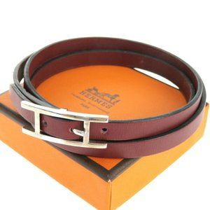 HERMES Api Ⅲ Belt Leather Silver Plated Leather Bo